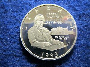 1993 James Madison Silver Half Dollar - Choice Proof - some hazy Toning reverse
