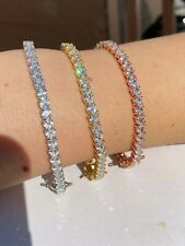 SOLID 925 Sterling Silver Tennis Bracelet ITALY Single Row Heart Shaped Diamond