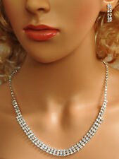 Bridal Crystal Necklace Earrings Set Prom Wedding Pageant Jewelry N1Y47
