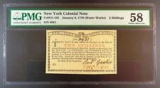 1776 US Colonial Note - New York Water Works 2 Shillings, PMG Choice AU-58.