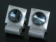 Vtg 1970s Cufflinks Wrap Around Silver Tone Blue Jeweled Stone Hipster Bling
