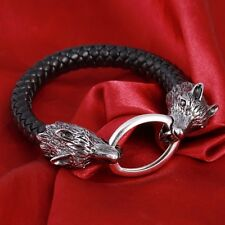 Leather And Silver Metal Wolf Head Bracelet