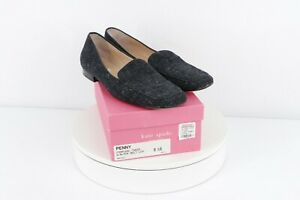 Vtg 90s Kate Spade New York Womens 9.5 B Charcoal Tweed Wool Loafers Shoes Gray