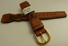 France Brown Braided Woven Oil Leather 13mm Watch Band Gold Tone Buckle $19.95