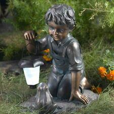 """New listing Little Boy Garden Statue Solar Led Light Sculpture Outdoor Accent Decor 14.8""""H"""