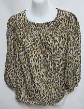 Anthropologie Vasia Green Beige Animal Print Smocked Top Blouse XS