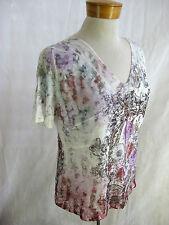 SEVEN SISTERS size S Floral Print V-neck Knit Top