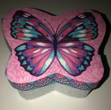 "Butterfly Keepsake Treasure Box Kraft Paper Mache 6x 5x 2.5"" Pink/Purple/aqua"