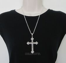 "FANCY DRESS SILVERTONE CROSS 24"" CHAIN PRIEST VICAR VAMPIRE ACCESSORIES NECKLACE"