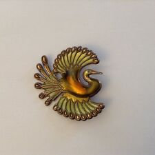 Vintage David Anderson sterling ,  green enamel Norway Bird of Paradise brooch