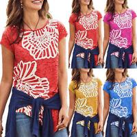 Womens Floral Irregular Short Sleeve T-shirt Summer Casual Tunic Tee Blouses Top