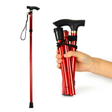 Aluminum Metal Walking Stick Easy Adjustable Folding Collapsible Travel Cane New