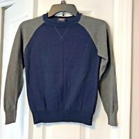 French Toast Boys Sz 8 Long Sleeve Sweater Navy Blue Gray Cotton Blend