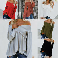 Women Long Sleeve Off Shoulder Top Ladies Loose Casual Blouse Ruffle Tee T Shirt