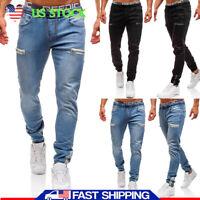 US Men's Elastic Waist Denim Jeans Pants Slim Fit Zipper Pockets Jogger Trousers