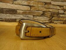 Dents Ladies Beige Textured Skinny Belt with Silver Metal Buckle Size S New