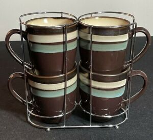 Mikasa Gourmet Basics Spector Blue 4 Mugs Cups Set Brown with Cup Rack ~ Holder