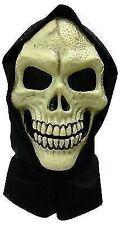 Skull Hooded PVC Face Mask Skeleton Skeletor Halloween Fancy Dress Grim Reaper