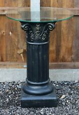 Fluted Pedestal Column with Glass Top in Great Condition - Free Delivery