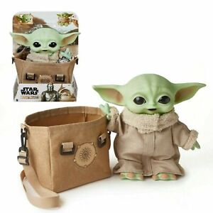 "Star Wars The Mandalorian The Child Grogu 11"" Talking Baby Yoda Carrying Satchel"