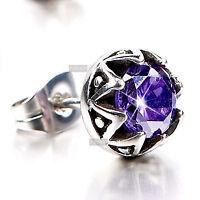 silver stud stainless steel purple crystal SINGLE earring 0.75ct round unisex