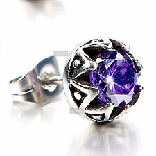 silver stud stainless steel purple crystal SINGLE earring .75ct