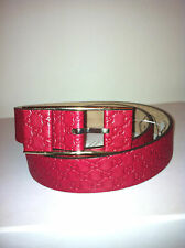 GUCCI DESIGNER WOMEN'S RED SIGNATURE GG EMBOSSED LEATHER BELT SIZE 75 (30 WAIST)