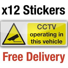 12 CCTV camera in vehicle adhesive vinyl stickers 8x3cm car taxi bus sign decals
