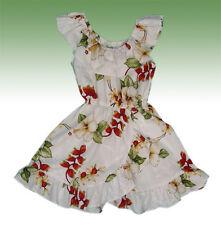 Hawaiian Girl Cotton White Hibiscus Tropical Flower Ruffle Elastic Dress-2,4,8
