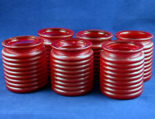 Htf Lot of 6 Vtg Lg Collectible Glass Jar Christmas Candle Holder Cranberry Red