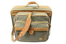 Set 2 VTG Hartmann Tweed Leather Suitcase Luggage Carry-On Shoulder Bag Handbag
