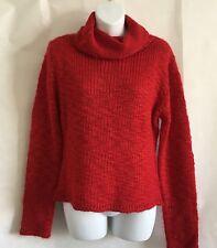Kenji Natural Women's Sweater Size L Wool Blend Wide Neck Light Knit ~ Red