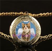 Cute Angel Kitten Photo Cabochon Glass Gold Plating Locket Pendant Necklace