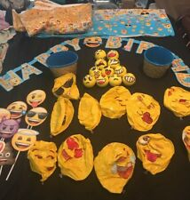 Emoji Party Supplies Birthday Decorations Kit, Face Tablecloths And More