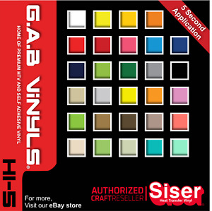A4 sheets - Siser Hi 5 - PREMIUM HTV Vinyl - EasyWeed - Turbo - Rapid - Iron on