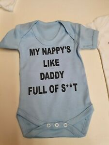 Baby Vest grow bodysuit Rude Funny Full of Sh*t gift New my Daddy baby shower