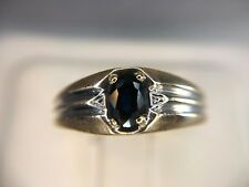 Estate 10k Yellow White Gold Oval Blue Sapphire Mens Ring Size 10.25