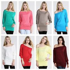 WOMENS LADIES PLAIN BASIC CASUAL LONG BATWING SLEEVE TUNIC TOP PLUS SIZE 8-26