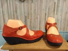 FLY LONDON SHOES RED  LEATHER WEDGE  UK 7  EU 40