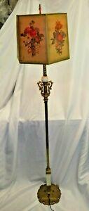 Antique Brass URANIUM VASELINE HOUZE AKRO Slag Glass JADEITE Floor Lamp - WORKS