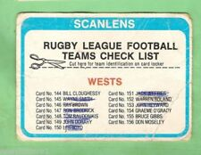 Checklist 1979 Season NRL & Rugby League Trading Cards