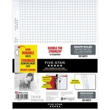 Five Star Reinforced Graph Filler Paper 100 Sheets (17012) - Printed - 3-ring
