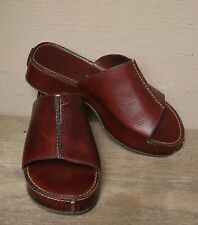 Cole Haan Brown Leather Platform Wedge Slide Sandals   Size 8 M