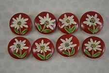 VINTAGE set of 8 floral red painted wooden buttons 22mm eidelweiss flowers
