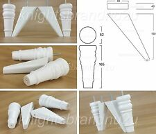4x REPLACEMENT FEET WHITE WOODEN FURNITURE LEGS SOFA CHAIR SETTEE STOOL M8(8mm)