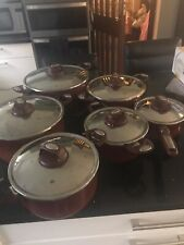 Tefal Non Stick Pots ranging from large to small X 7 Maroon