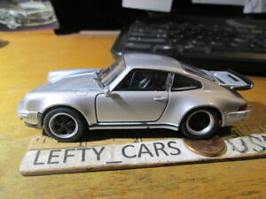 "WELLY SILVER PORSCHE 911 TURBO Car SCALE (4""-1/2 long) Roll Back Action"