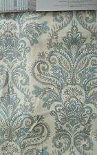 ENVOGUE Blue Paisley Medallions 2 Window Curtain Panels 96 Gray Ivory Damask New