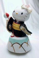 Kimono Maiko Hello Kitty Music box Ceramic Lace Doll Black Porcelain figures FS