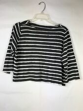 TOPSHOP Petite Women's Crop Top siz 10 Black white Striped 3/4 sleeve Viscose 91